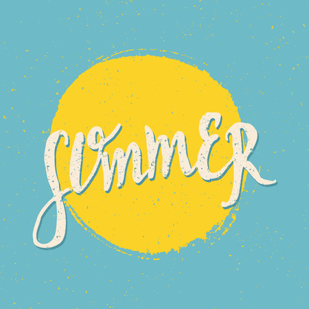 Hand lettered retro style summer design. Summer greeting card in bright blue and yellow. Vector