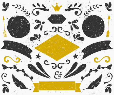 A set of vintage style design elements in dark gray and golden. Hand drawn decorative elements and embellishments. Banners, ribbons, swirls, labels and other retro style graphics. Illustration