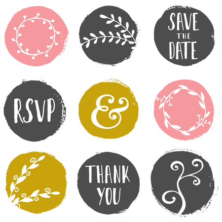 A set of 9 hand drawn paint circles with wedding decorative elements isolated on white. Illustration