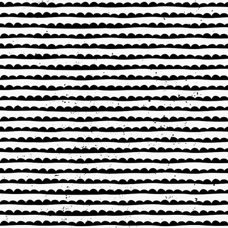 Hand drawn style abstract seamless pattern in black and white.