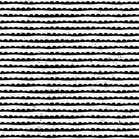 Tiré par la main de style abstract seamless pattern en noir et blanc.