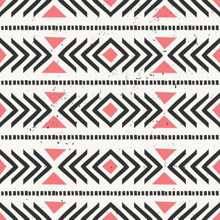 Hand drawn style ethnic seamless pattern. Abstract geometric tiling background in black and pastel coral red. Vector
