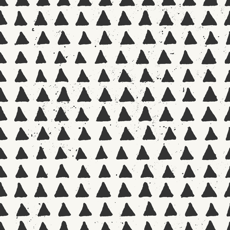 off white: Hand drawn style geometric seamless pattern. Vintage abstract repeat pattern in black and off- white.