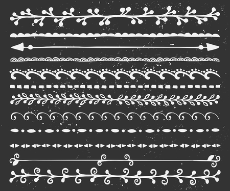 A set of chalkboard style borders in black and white. Hand drawn decorative elements and embellishments. Vector