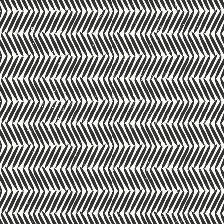 手描き下ろしスタイル シェブロン シームレスなパターン。黒と白の抽象的な幾何学的なタイル張りの背景。  イラスト・ベクター素材