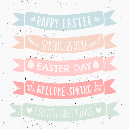 cute: A set of typographic designs on pastel colored banners for Easter Day.