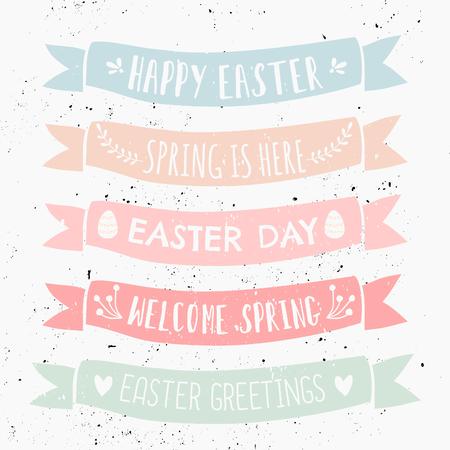Un ensemble de dessins typographiques sur des bannières aux couleurs pastel pour le jour de Pâques.