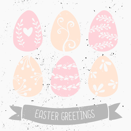 Hand drawn style easter eggs and banner greeting card template. Vector