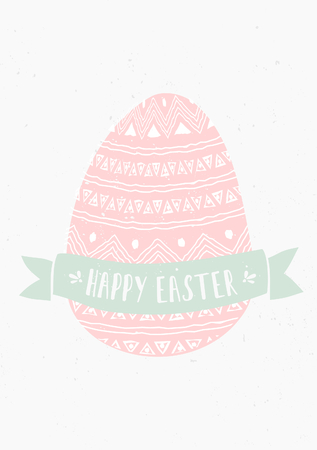 Hand drawn style easter egg and banner greeting card template. Vector