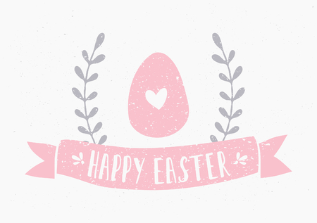 Hand drawn style Easter greeting card template. Vector