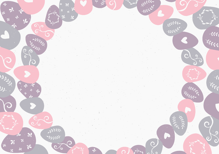 Easter eggs wreath greeting card template with copy space. Vector