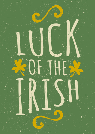 Hand drawn typographic style greeting card for St. Patricks Day. Vector