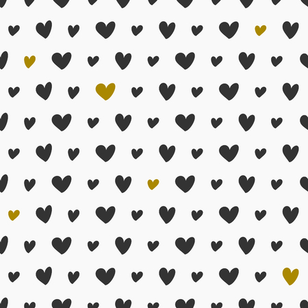 Seamless pattern with hearts in black and golden. Vector