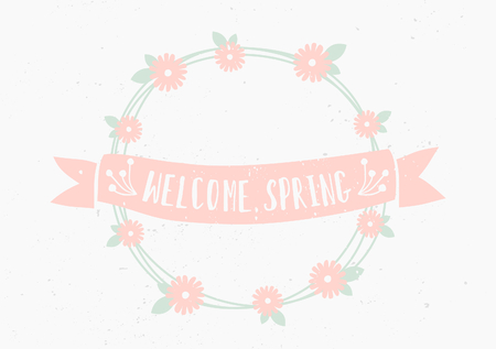 Hand drawn style floral wreath and banner greeting card template. Vector