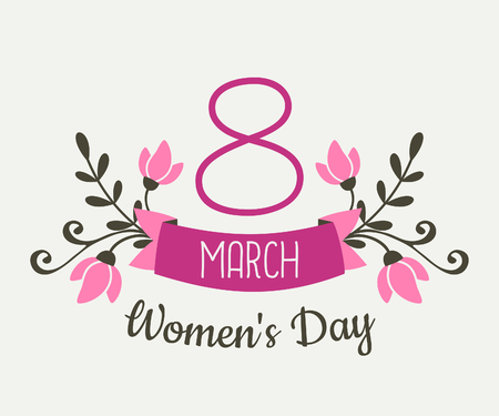 国際女性の日の花のデザインのグリーティング カード。ピンクの花と 3 月 8 日、女性の日のテキストとバナー。  イラスト・ベクター素材