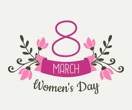Tarjeta floral de felicitación del diseño para el Día Internacional de la Mujer. Flores de color rosa y la bandera con el texto 08 de marzo, día de la Mujer.