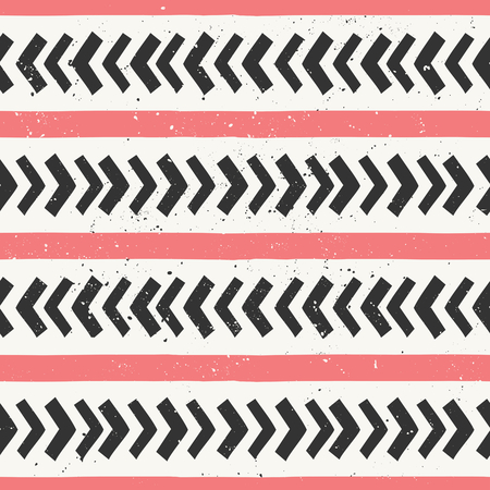 Hand drawn style chevron and stripes seamless pattern. Abstract geometric tiling background in black and pastel coral red. 向量圖像