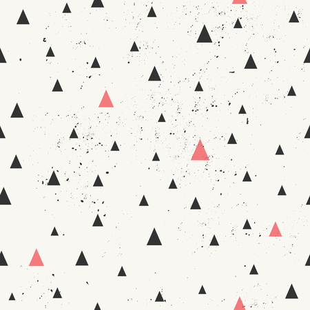 Hand drawn style geometric seamless pattern. Vintage abstract repeat pattern in black and pastel coral red.