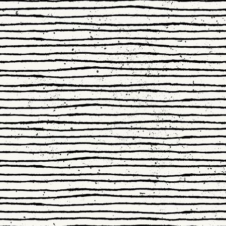 手描き下ろしスタイル ストライプのシームレスなパターン。黒と白オフ ビンテージ抽象的な繰り返しパターン。  イラスト・ベクター素材