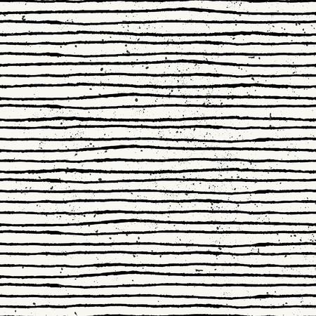 Hand drawn style striped seamless pattern. Vintage abstract repeat pattern in black and off- white.