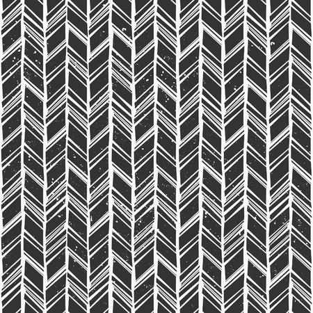 tribales: Dibujado a mano patr�n estilo chevron Sin fisuras en blanco y negro. Vectores