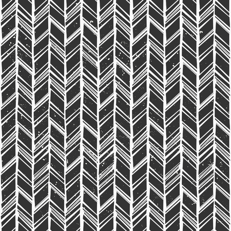 Seamless hand drawn style chevron pattern in black and white.