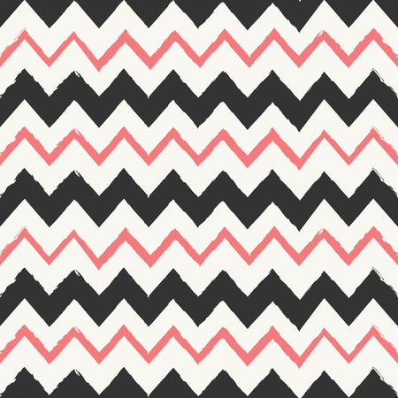 Hand drawn style chevron seamless pattern. Abstract geometric tiling background in black and pastel coral red.