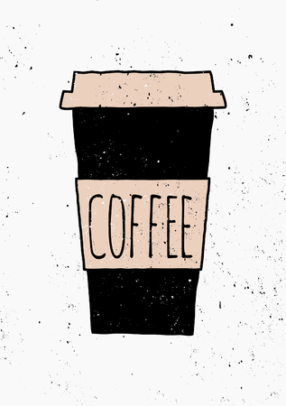 speckle: Hand drawn style coffee cup poster design.