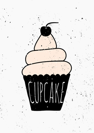 poster design: Hand drawn style cupcake poster design.