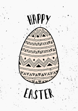 Hand drawn style easter egg card template. Vector