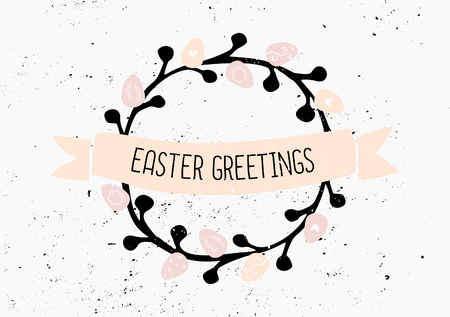 Hand drawn style easter eggs wreath and banner card template. Vector