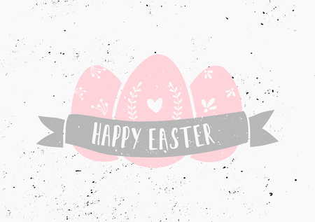 Hand drawn style easter eggs and banner card template. Vector