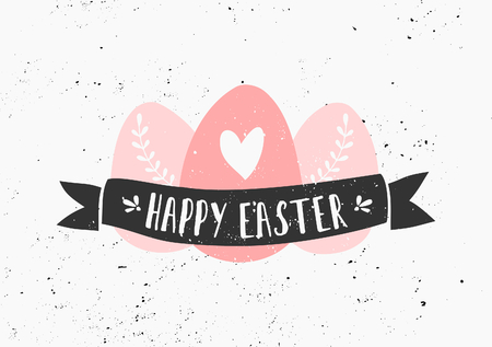 happy easter: Hand drawn style easter eggs and banner greeting card template. Illustration