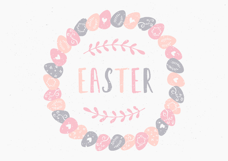 Hand drawn style easter eggs wreath greeting card template. Vector
