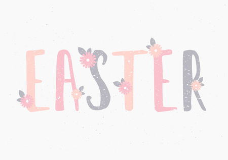 Hand lettered style Easter greeting card template. Vector