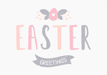 vector eggs: Hand lettered style Easter greeting card template.