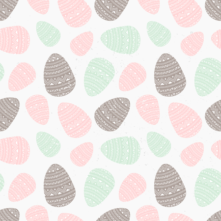 Hand drawn style seamless repeat pattern with Easter eggs in pastel pink, mint and chocolate brown. Vector