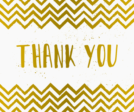 give thanks: Hand drawn style Thank You greeting card in gold and white.