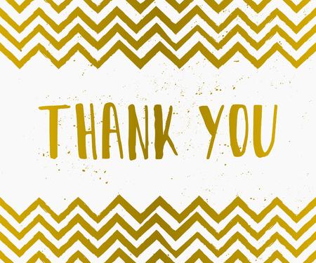 merci: Tiré par la main de style vous remercient carte de voeux en or et blanc.