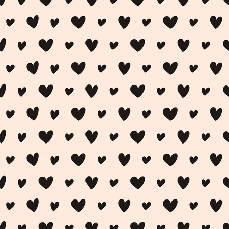 Hand drawn style seamless pattern. Vintage abstract repeat pattern with hearts in black and blush pink.