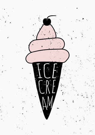 Hand drawn style ice cream cone poster design. Vector