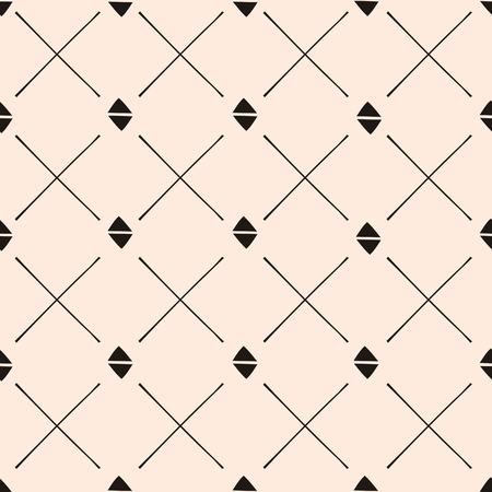 Hand drawn style geometric seamless pattern. Vintage abstract repeat pattern in black and blush pink.
