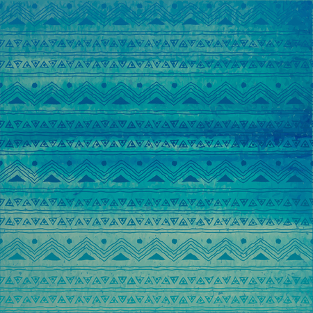 Hand drawn abstract watercolor background in blue and turquoise with tribal print. 向量圖像