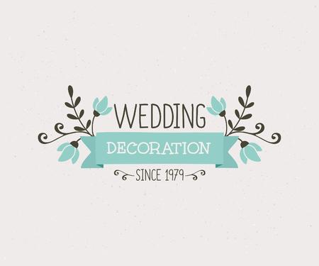 decoracion boda: Decoraci�n floral dise�o de la boda, lindo y elegante plantilla de icono de estilo vintage.