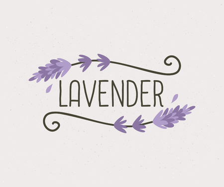 Hand drawn floral design, cute and elegant vintage style logo template. Vector