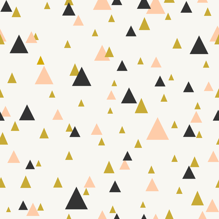 Abstract seamless pattern with triangles in pastel pink, gold and dark gray.
