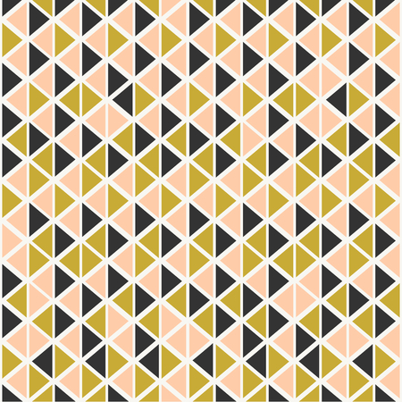 Abstract seamless pattern with triangles in pastel pink, gold and dark gray. Vector