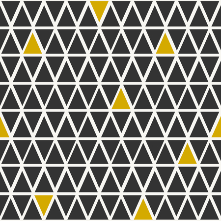 Abstract seamless pattern with triangles in black and golden.