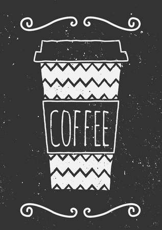 coffee to go: Hand drawn cup of coffee with chevron pattern and decorative elements. Chalkboard style vector illustration. Illustration