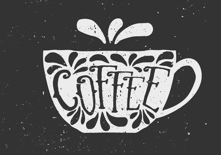 Hand drawn cup of coffee with text and decorative elements. Chalkboard style vector illustration.